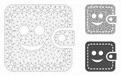 Mesh Smiled Wallet Model With Triangle Mosaic Icon. Wire Frame Polygonal Mesh Of Smiled Wallet. Vect poster