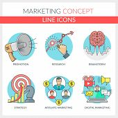 Marketing. Set Of Color Line Concept Icons For Marketing, Affiliate Marketing, Digital Marketing, Ma poster