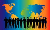 stock photo of person silhouette  - business crowd on rainbow globe map background - JPG