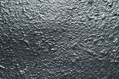 Reflective Surface Of Raggy Concrete Wall. Dark Gray Grunge Texture With Metallic Gloss. Shiny Gray  poster