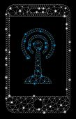 Glowing Mesh Smartphone Radio Control With Glow Effect. Abstract Illuminated Model Of Smartphone Rad poster