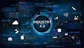 Industry 4.0 Concept Banner With Keywords And Icons. Interface With The Inscription Industry 4.0. Th poster