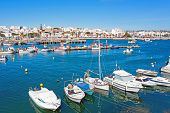 Aerial from the harbor in Lagos in the Algarve Portugal poster