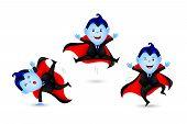 Cute Dracula Vampire Three Act. Halloween Characters Design. Happy Halloween Concept. Illustration I poster