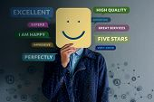 Customer Experience Concept. Happy Client Standing At The Wall With Smiling Face On Paper. Surrounde poster