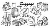 Collection Of Different Luggage Ink Set Vector. Assortment Of Luggage Bag For Business Trip, Extreme poster