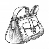 Fashion Stylish Hand Luggage Bag Monochrome Vector. Modern Business Luggage For Traveling By Airplan poster