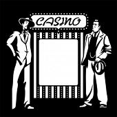 stock photo of hustler  - Tough mafia guys at the blank casino signpost - JPG