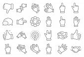 Hand Gestures Line Icons. Handshake, Clapping Hands, Victory. Horns, Thumb Up Finger, Drag And Drop  poster