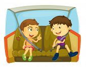 image of seatbelt  - cartoon of kids in a car - JPG