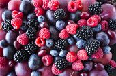 Background Of Fresh Vegetables And Fruits. Ripe Blackberries, Blueberries, Plums, Pink Grapes, Raspb poster