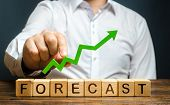 Man Holds Green Arrow Up Over Word Forecast. Prediction Of Profit Growth, Value Of Assets And Market poster