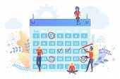 Workers Planning Time With Calendar Flat Vector Illustration. People Marking Dates With Red Circle,  poster