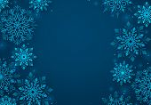 Winter Snowflakes Vector Background. Winter Snow Background In Blue Color And Blank Space For Greeti poster