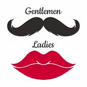 Ladies And Gentlemen Icon Isolated On White Background. Mustaches And Lips  Vector Shape. poster