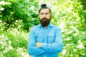 Look Your Best. Hispter Style. Fashion Portrait Of Man. Hair Beard Care. Guy In Forest. Summer Campi poster