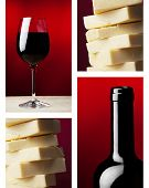 stock photo of caw  - a wine glass with red wine and dark wine bottle and yellow caw cheese - JPG