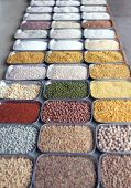 stock photo of bengal-gram  - Indian pulses and cereals a an indian bazaar in t bangalore karnataka - JPG