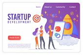 Startup Development Flat Vector Landing Page Template. Creative People Discussing Innovative Project poster