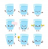 Cute Smiling Happy Water Glass Set Co;;ection. Vector Flat Cartoon Character Illustration.isolated O poster