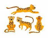 Set Of Cute Cartoon Leopards Isolated On White Background. Collection Of Cute Feline Animals. Flat V poster