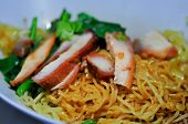 Noodles, Chinese Egg Noodles Or Chinese Noodle With Pork And Vegetable poster