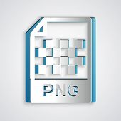 Paper Cut Png File Document. Download Png Button Icon Isolated On Grey Background. Png File Symbol.  poster