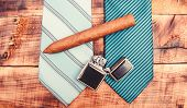 Fashion Look. Business Detail. Male Tie And Cigar. Male Shop. Necktie For Real Men. Modern Formal St poster