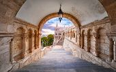 Budapest, Hungary. Ancient Fishermans Bastion castle. View at tower from stairs under arch along gal poster