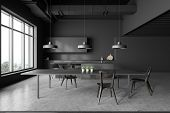 Gray Kitchen Interior With Table poster