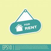 Green Hanging Sign With Text For Rent Icon Isolated On Yellow Background. Signboard With Text For Re poster