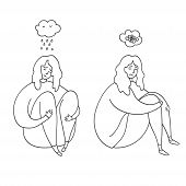 Upset And Depressed Women Hug Legs. Set Of Sad And Depressed Girls Sitting. Heartbreak And Sad Doodl poster