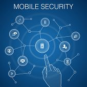 Mobile Security Concept, Blue Background.mobile Phishing, Spyware, Internet Security, Data Protectio poster