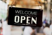 A Business Sign That Says Open On Cafe Or Restaurant Hang On Door At Entrance. poster