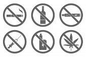 No Smoking, No Vaping, No Alcohol, No Drugs Sign. Vector. poster
