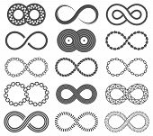 Infinity Symbols. Mobius Loop Shape, Unlimited And Forever Signs. Abstract Motion, Identity And Eigh poster