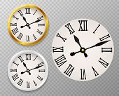 Retro Clock Face. Tower Wall Clocks With Roman Numerals And Antique Classic Hands In Golden And Whit poster