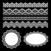 stock photo of lace  - Set of lace trims - JPG