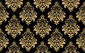 Floral Pattern. Vintage Wallpaper In The Baroque Style. Seamless Background. Gold And Black Ornament poster