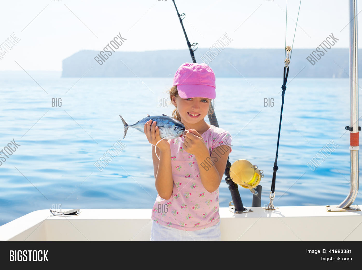 Child little girl fishing boat image photo bigstock for Little girl fishing pole