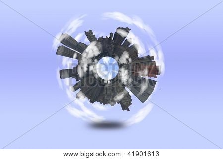 Round City with clouds