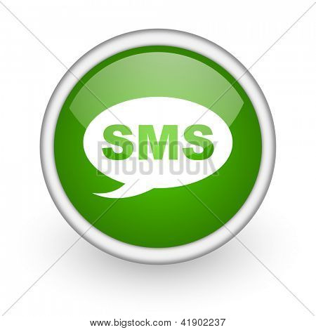 sms green circle glossy web icon on white background