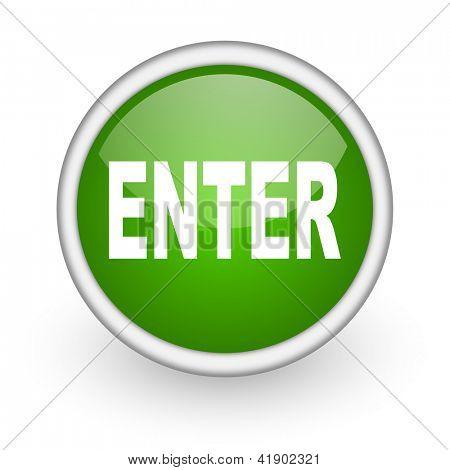 enter green circle glossy web icon on white background