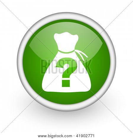 riddle green circle glossy web icon on white background