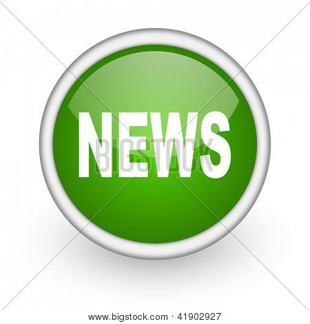 news green circle glossy web icon on white background