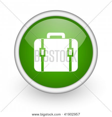 financial green circle glossy web icon on white background