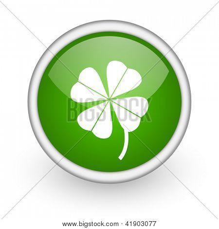four-leaf clover green circle glossy web icon on white background