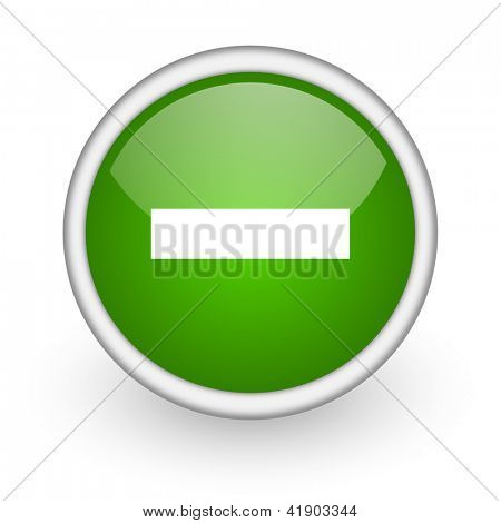 minus green circle glossy web icon on white background