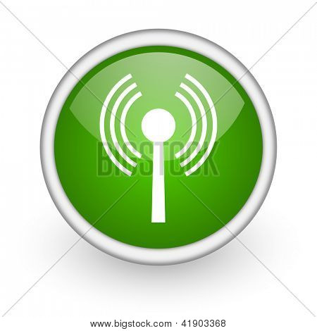 wifi green circle glossy web icon on white background