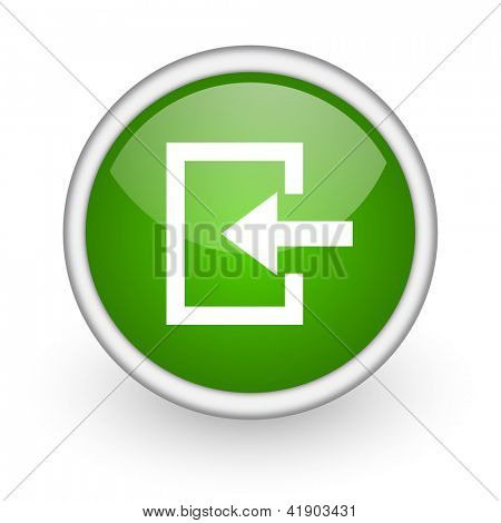 enter green circle glossy web icon on white background